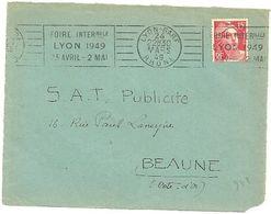 RHONE - Dépt N° 69 = LYON GARE 1949 = FLAMME RBV ' FOIRE  / AVRIL - MAI' - Maschinenstempel (Werbestempel)