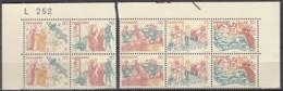 DÄNEMARK 2x 550-554, In 4erBlock Und 6erEinheit, Eckrand, Postfrisch **, Kalkmalereien 1973 - Dänemark