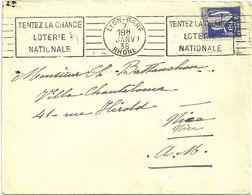 RHONE - Dépt N° 69 = LYON GARE 1938 = FLAMME SUPERBE =  RBV ' TENTEZ LA CHANCE / LOTERIE / NATIONALE' - Postmark Collection (Covers)