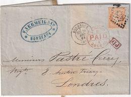 FRANCE 1868 LETTRE DE BORDEAUX POUR LONDRES - 1849-1876: Periodo Clásico