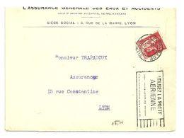 RHONE - Dépt N° 69 = LYON GARE 1934 = FLAMME SUPERBE = FLIER 'UTILISEZ LA POSTE / AERIENNE / 3e & 4e Lignes Limées' - Postmark Collection (Covers)
