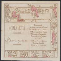 Menu Illustré : Ecole De Tir , 12 Juillet 1888. Très Bon état ! Plié En 4. - Menus