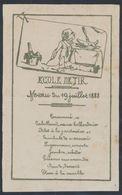 Menu Illustré : Ecole De Tir , 19 Juillet 1888. Très Bon état ! Plié En 2. - Menus