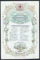 Belgique - Menu En Porcelaine : Banquet Offert à Monsieur Le Comte Amédée Visart De Bocarmé (Bruges 1843). TB - Menus