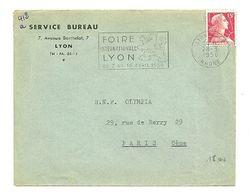 RHONE - Dépt N° 69 = LYON GARE 1956 = FLAMME SECAP Illustrée 'FOIRE INTERNATIONALE / 7 AU 16 AVRIL' - Postmark Collection (Covers)
