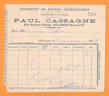 LOT ET GARONNE - VILLENEUVE SUR LOT - PAUL CASSAGNE ENTREPOT DE BIERES SUPERIEURES - Facturen