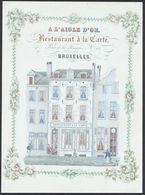 Carte En Porcelaine (Grand Format ! ) - Bruxelles, Rue De La Fourche N°41 : A L'aigle D'or, Restaurant à La Carte. - Cafés, Hôtels, Restaurants