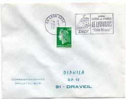 RHONE - Dépt N° 69 = LYON GARE 1970 = FLAMME SUPERBE = SECAP Illustrée ' SNCF / LYONNAIS Style MISTRAL ' - Postmark Collection (Covers)