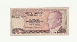 Banconota TURKIYE MERKEZ BANKASI - 100 LIRA YUZ TURK LIRASI - TURCHIA 1970 - Turquie
