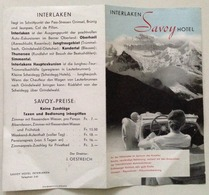 Brossura Interlaken Savoy Hotel Sd Anni '40 - Vecchi Documenti