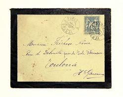 Lettre 1897 Pour Toulouse, Affr. 15c Type Sage, Tad Ambulant Nuit Verdun à Paris B, Type II - Marcophilie (Lettres)