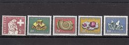 Suisse - Année 1958 - Neuf**  - Pro Patria - N°Zumstein 86/90** -  Symbole Et Minéraux, Roches, Fossiles - Neufs