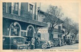 CHATEAUNEUF DU PAPE RESTAURANT BELLEVUE CHEZ LA MERE GERMAINE AVEC VIEILLES AUTOMOBILES - Chateauneuf Du Pape
