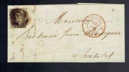 """Médaillon 10c / Lac De Boite """" L """" Bouffioulx  / Barres P 26 Châtelet  22 DEC 1851 => Châtelet - Marcophilie"""