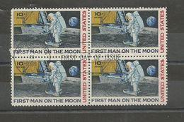 USA  BLOC DE 4  OBLITERATION PREMIER JOUR  20/07/1969  FIRST MAN ON THE MOON - Usados