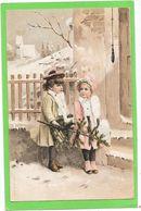 A Et M.B - Deux Petites Filles Au Sapin Dans La Neige - Fantaisies