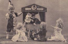 Punch & Judy Puppet Show Toy Dolls & Policeman Antique Postcard - Children