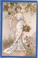 A Et M.B - Jolie Jeune Femme En Robe Longue Cueillant Des Roses - Fancy Cards