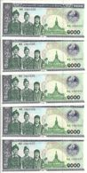 LAOS 1000 KIP 2003 UNC P 32A B ( 5 Billets ) - Laos