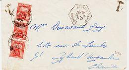 """France, De """"hourtin Marine En 1951, Taxée Jerbe Avec Bande De Trois (30 F )  TB - Lettres Taxées"""