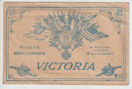 VICTORIA -- POCHETTE CORRESPONDANCE -- CROIX DE GUERRE --CANONS  -- RF . - 1914-18