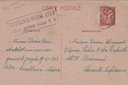 ENTIER POSTAL 80C TYPE IRIS OBLITERATION CASABLANCA 1941 ET CACHET CASABLANCA-BOURSE AVION SURTAXE AERIENNE PERCUE 1FR. - Morocco (1956-...)