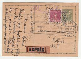 Czechoslovakia, Postal Stationery Postcard Posted 1932 Praha To Kolin B200610 - Postcards