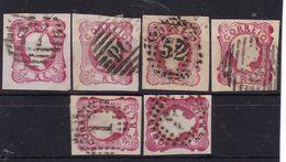 #12003, Portugal 1858, 6 X Stamp 25 R Imperforated Used, Michel 11:  King Pedro V - 1855-1858 : D.Pedro V