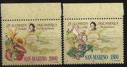 Saint-Marin 1990 N° 1250 / 1 ** Amérique, Christophe Colomb, Incas, Mayas, Ananas, Tomate, Maïs, Patate, Cacao, Chocolat - Saint-Marin