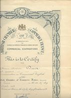 BRITISH CHAMBER OF COMMERCE FRANCE....DALLAPORTA....DIPLOME..CERTIFICAT..  1958.. - Diploma & School Reports