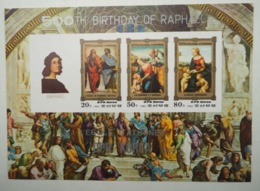 North Korea 1983 500th Birthday Of Raphael Paintings IMPERF Miniature Sheet Of 3v - Corea Del Nord