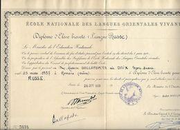ECOLE NATIONALE DES LANGUES ORIENTALES VIVANTES ....DALLAPORTA...DIPLOME DE RUSSE. 1959 A PARIS.. - Diploma & School Reports