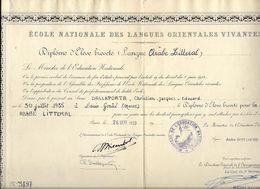 ECOLE NATIONALE DES LANGUES ORIENTALES VIVANTES**  DALLAPORTA....DIPLOME LANGUE  ARABE** 1959 A PARIS.. - Diploma & School Reports