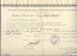 ECOLE NATIONALE DES LANGUES ORIENTALES VIVANTES**  DALLAPORTA....DIPLOME LANGUE  ARABE** 1959 A PARIS.. - Diplomas Y Calificaciones Escolares