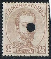 Sello 25 Cts Amadeo 1872. Perforado TELEGRAFOS, Num 124T º - Télégraphe