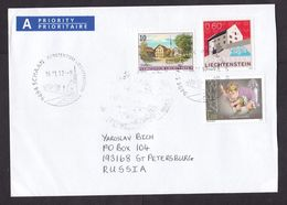 Liechtenstein: Priority Cover To Russia, 2012, 3 Stamps, Quasimodo, Hunchback, Fairy Tale, Small A-label (cancel Stains) - Liechtenstein