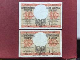 ALBANIE Lot De 2 Billets - Albanie