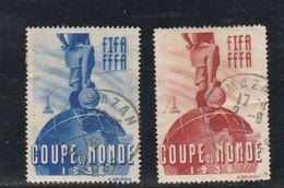 PAIRE VIGNETTE COUPE DU MONDE 1938 OBLITERE MAZAN VAUCLUSE 2/8/1938 - Commemorative Labels