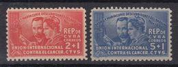 CUBA 1938. DESCUBRIMIENTO DEL RADIO. PEDRO Y MARIE CURIE. SEMIPOSTAL EDIFIL 1/2  SIN GOMA - Cuba
