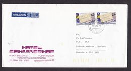 Liechtenstein: Airmail Cover To Canada, 1992, 2 Stamps, Philately Exhibition, Small Air Label, From Hotel (minor Stains) - Liechtenstein