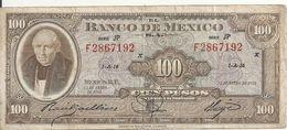 MEXIQUE 100 PESOS 1961 VF P 55 J - Messico