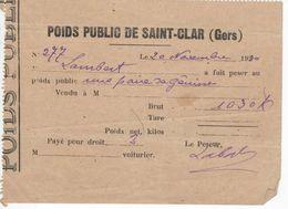 1528 32 ST CLAR Gers POIDS PUBLIC  Une Paire De Génisse  Ticket Reçu Bascule Droit De Pesage 1930 - Frankreich