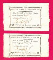 ASSIGNATS PAIRE DE BILLETS DE CONFIANCE  DE 10 SOLS  SEPT 1792 COMMUNE DE LESCHE DISTRICT DE DIE  N° 1021 & 1022 VALENCE - Assegnati