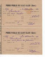 1529 32 ST CLAR Gers POIDS PUBLIC  Une Paire De Génisse, Une Vache = 2 Tickets Reçus Bascule Droit De Pesage 1930 LABAT - Frankreich