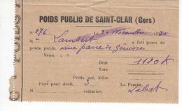 1530 32 ST CLAR Gers POIDS PUBLIC  Une Paire De Génisse, Ticket Reçu Bascule Droit De Pesage 1930 Peseur LABAT LAMBERT - Frankreich