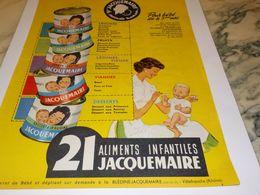 ANCIENNE PUBLICITE ALIMENTS INFANTILES JACQUEMAIRE 1958 - Affiches