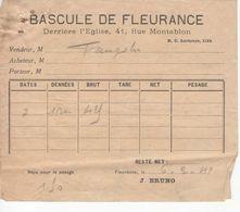 1532 32  Bascule FLEURANCE 32 Gers  POIDS PUBLIC Ticket  Droit De Pesage 1940 Peseur J. BRUNO - Frankreich