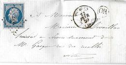 FRANCE - 14 A  Napoléon III Sur Lettre Enveloppe -cad Pougues Nièvre  22 02 1859 - Oblitération PC 2555 - Or Dans Cercle - 1853-1860 Napoléon III