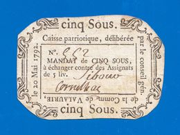 ASSIGNAT BILLET DE CONFIANCE CAISSE PATRIOTIQUE N° 552 DE 5 SOUS LE 20 MAI 1792 COMMUNE DE VALAURIE - VALENCE DRÔME - Assegnati