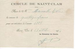 1534 Reçu COTISATION CERCLE DE St CLAR Gers 32 1934  Trésorier Du Cercle - Frankreich